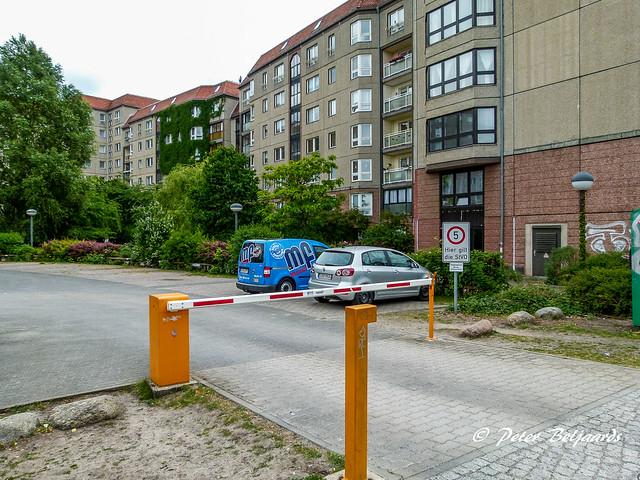 The Führerbunker is located below this parking lot, Gertrud-Kolmar-Straße Berlin