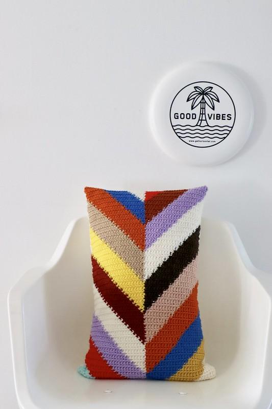 handmade woodwoolstool chevron pillow