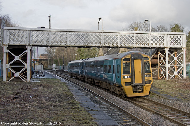 AW Class 158 No 158836 departs Ruabon Station on 9th March 2015