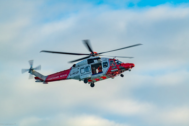 G-MCGP (Coastguard Rescue) Close to the Peterheid south breakwater, There was a Persons Locator Beacon going off, (Man Overboard)
