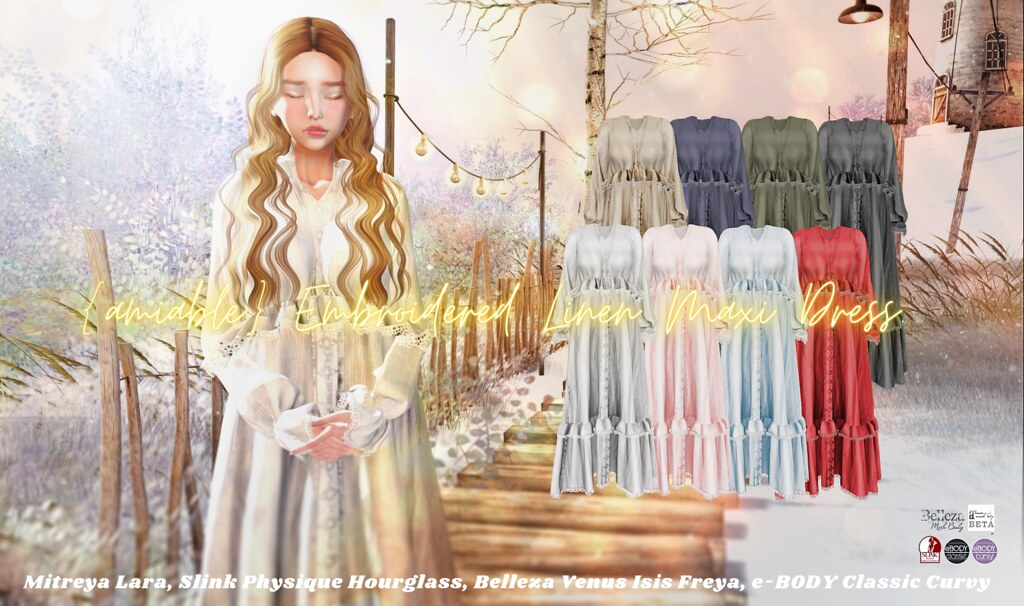 """{amiable}Embroidered Linen Maxi Dress@ main store.(""""50%OFF SALE"""" &""""GIVE AWAY"""")."""