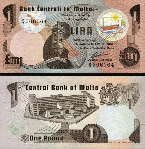 1 Lira Malta 1967(1979), P34a