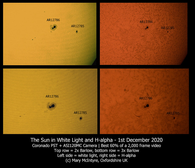 Active Regions 12785 and 12786 in White Light & H-alpha 01/12/20