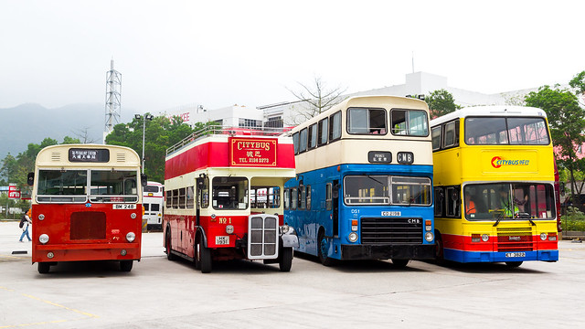 Combination of classic buses at Hong Kong Bus Rally 2015
