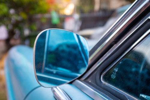 Side view of a side-view mirror, 70s Volvo