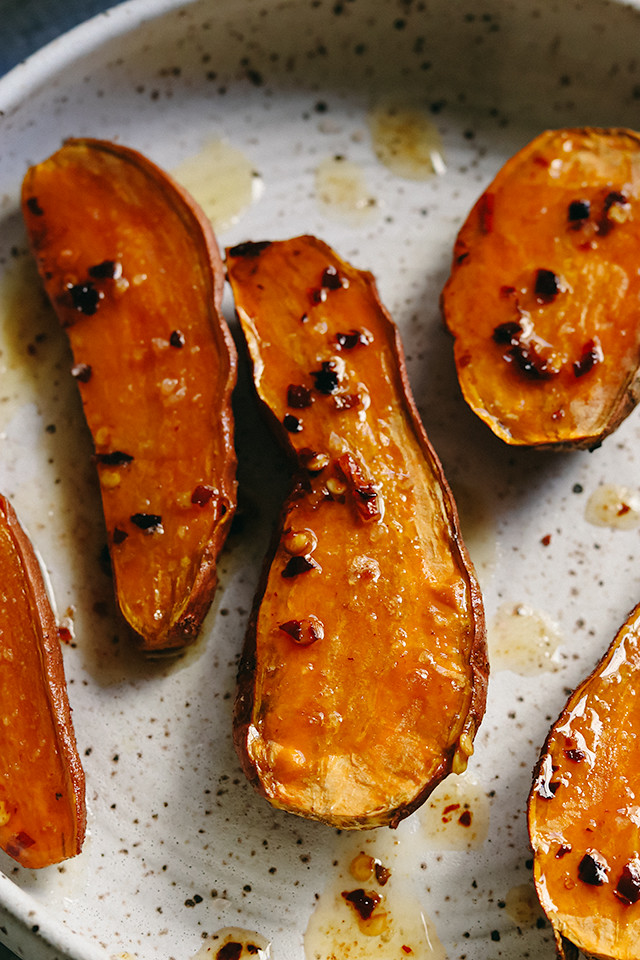 Roasted Sweet Potatoes with Hot Honey Browned Butter