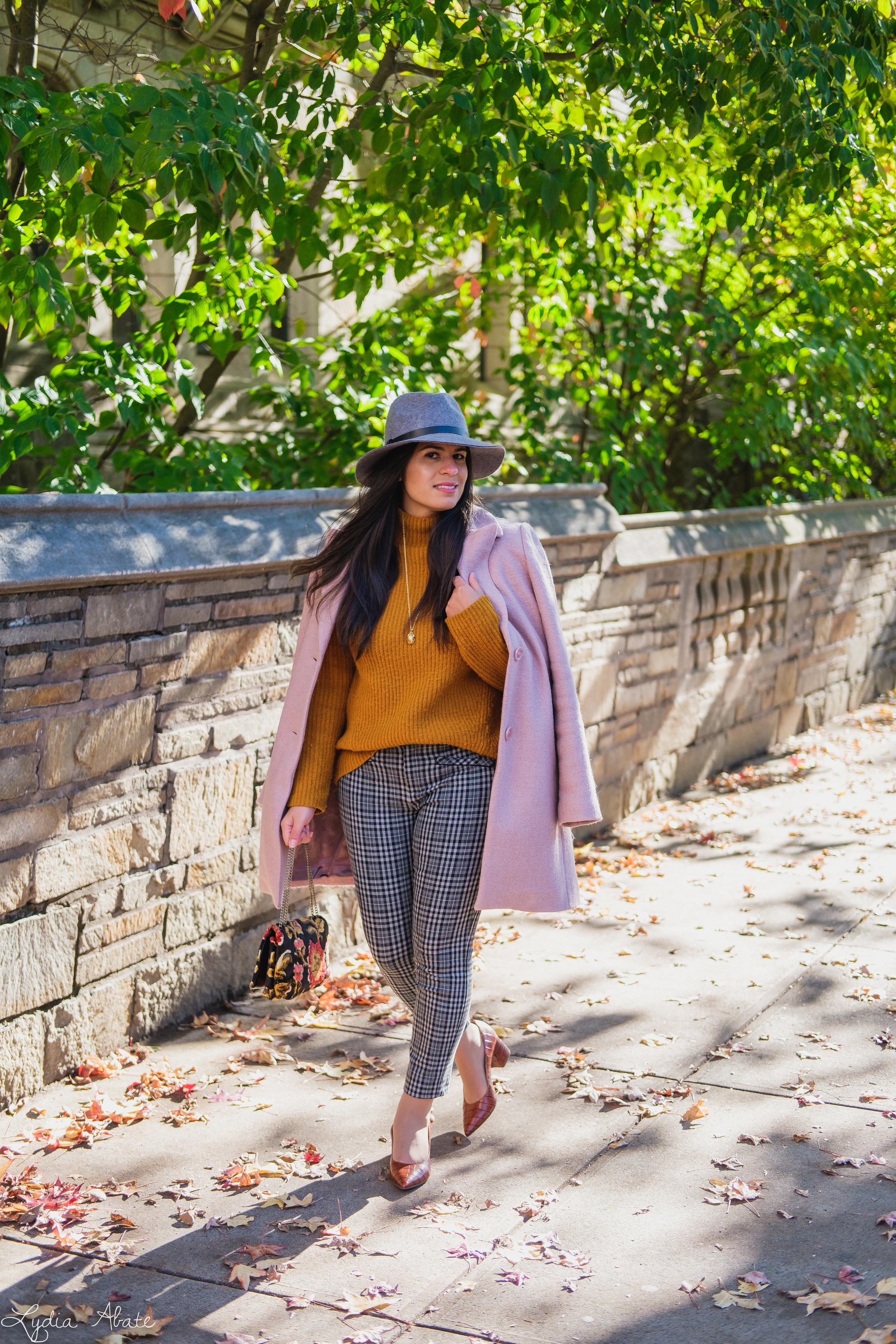 rust sweater, grey plaid pants, pink wool coat, hat, vintage carpet bag-9.jpg