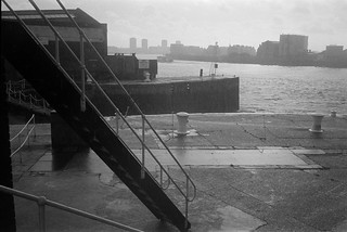 Heavy Rain, LimehouseBasin, entrance, River Thames, Limehouse, Tower Hamlets, 1983 33f-45_2400