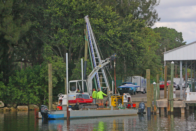Workers Setting Pilings for a Dock in Tarpon Springs, FL (1 of 2)