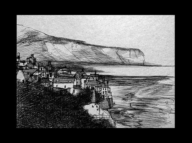Pin sketch of Robin Hoods Bay, Yorkshire. Ballpoint pen drawing by jmsw on recycled card. Only on this site, just for Fun.