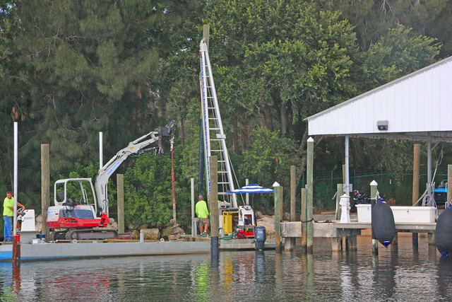 Workers Setting Pilings for a Dock in Tarpon Springs, FL (2 of 2)