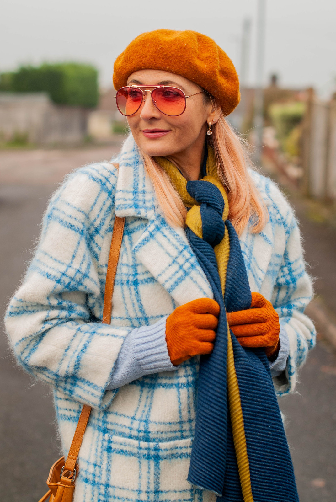 Hot Mess - Or More Coordinated Than I Thought? (Catherine Summers AKA Not Dressed As Lamb wearing blue/white checked cocoon coat, dark straight leg jeans, navy Chelsea boots, navy/ green woollen scarf, pumpkin orange beret and gloves, tan cross-body bag)
