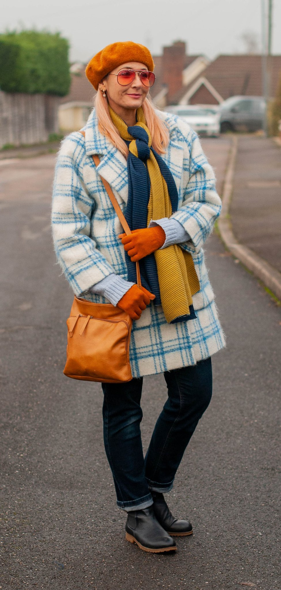 Hot Mess - Or More Coordinated Than I Thought? (Catherine Summers AKA Not Dressed As Lamb wearing blue/white checked cocoon coat, dark straight leg jeans, navy Chelsea boots, navy/ green woolen scarf, pumpkin orange beret and gloves, tan cross-body bag)