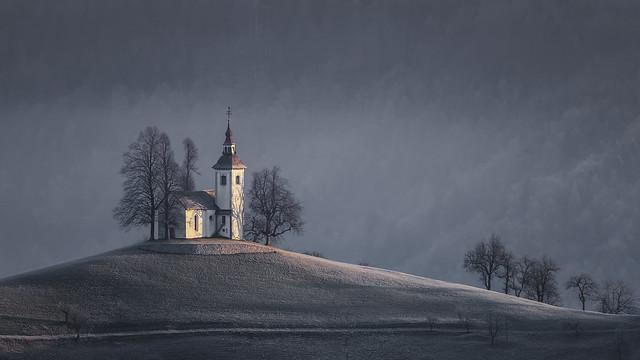 Sunrise at St Thomas Church, nr Skofja Loka, Slovenia