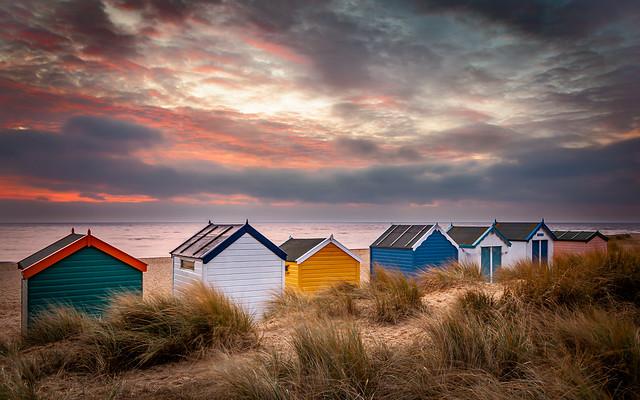 Southwold beach huts at sunrise