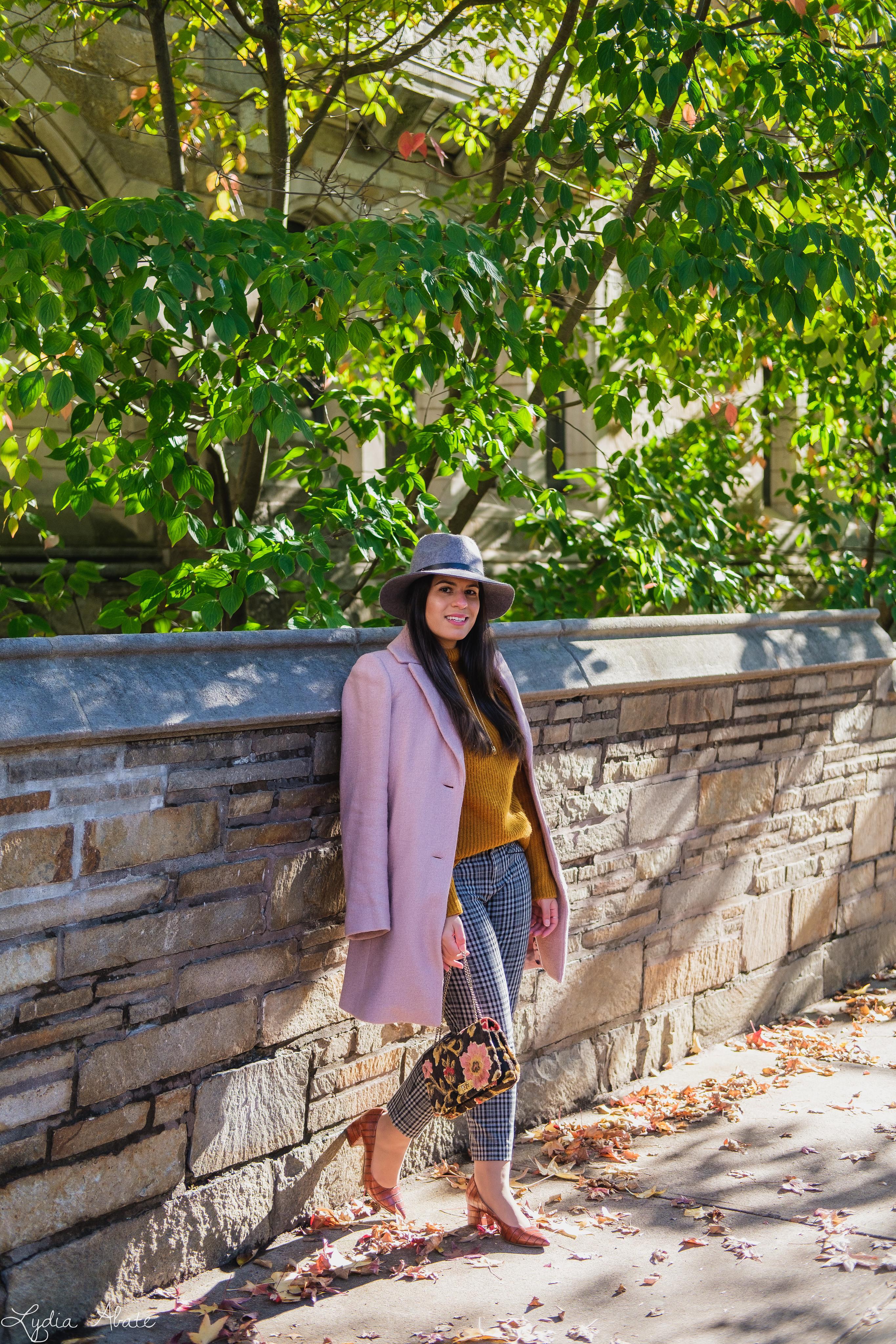 rust sweater, grey plaid pants, pink wool coat, hat, vintage carpet bag-4.jpg