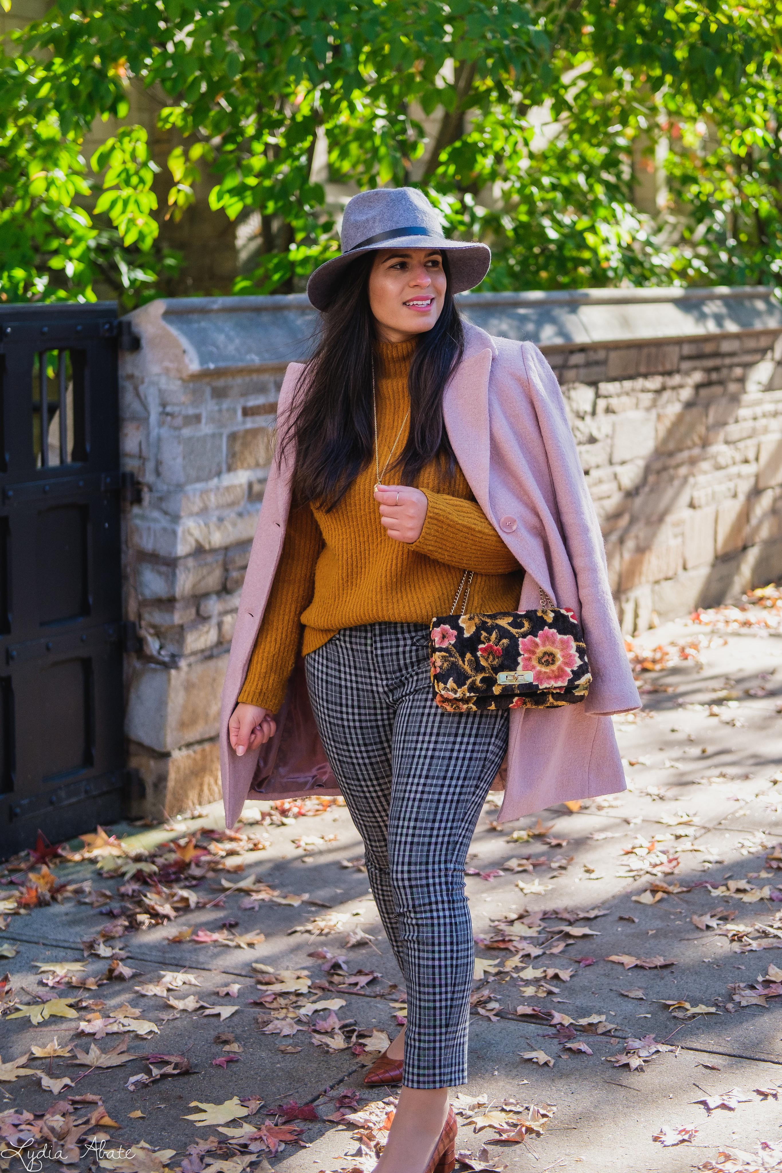 rust sweater, grey plaid pants, pink wool coat, hat, vintage carpet bag-10.jpg