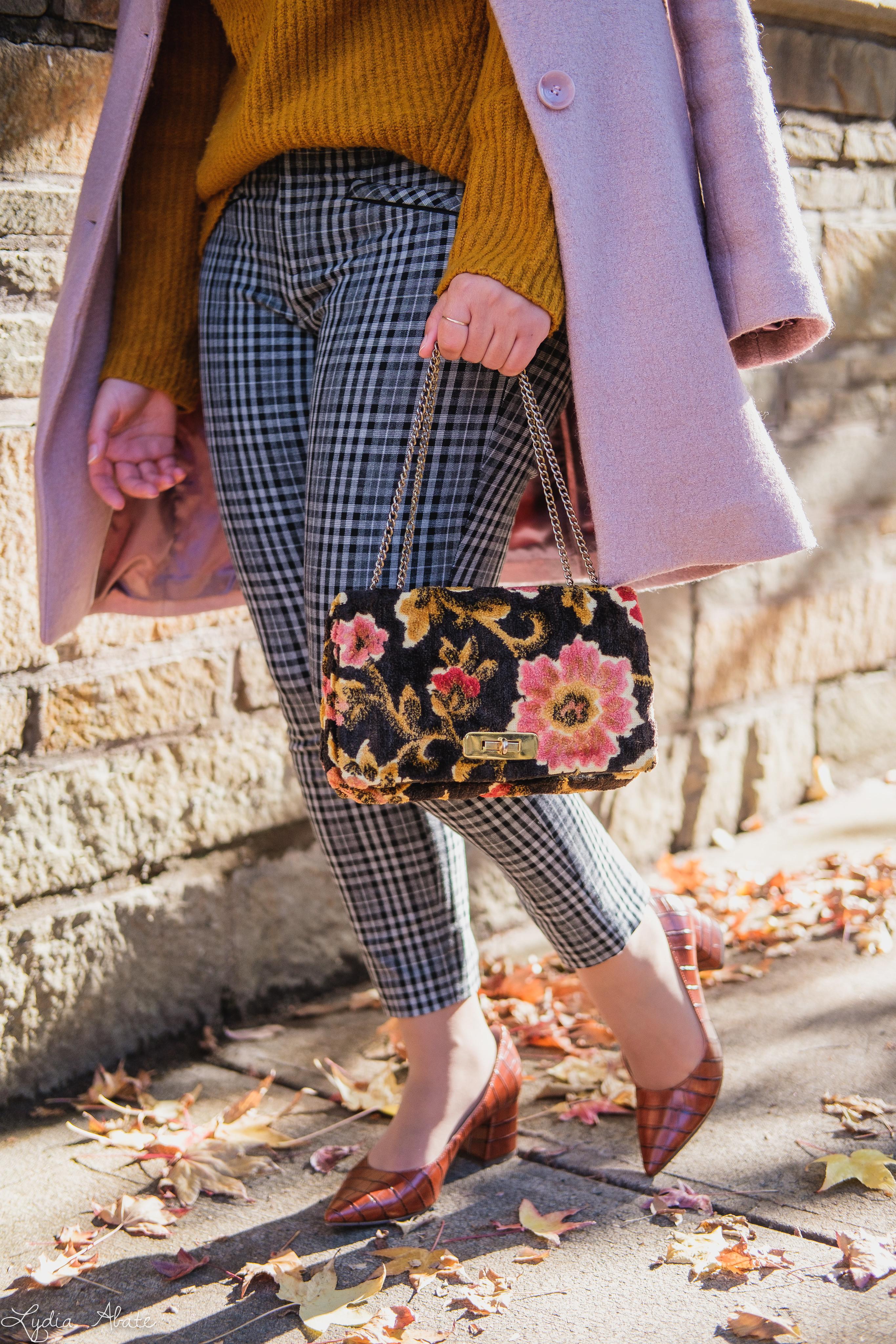 rust sweater, grey plaid pants, pink wool coat, hat, vintage carpet bag-11.jpg