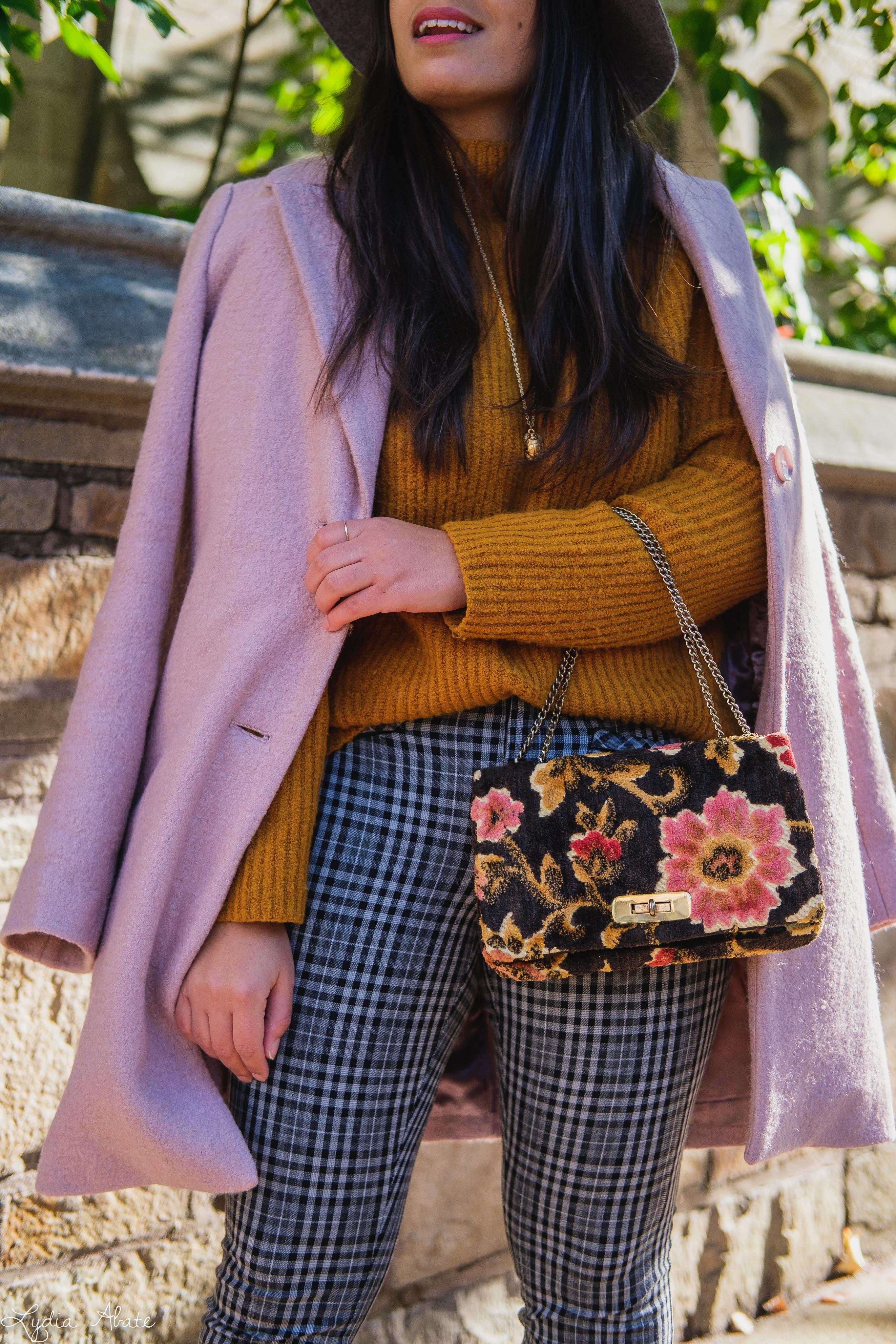 rust sweater, grey plaid pants, pink wool coat, hat, vintage carpet bag-13.jpg