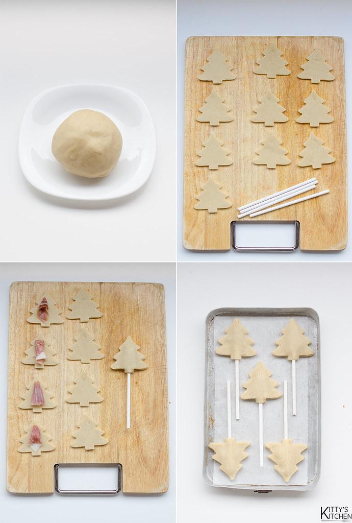 alberelli di pasta brisèe alle castagne e prosciutto