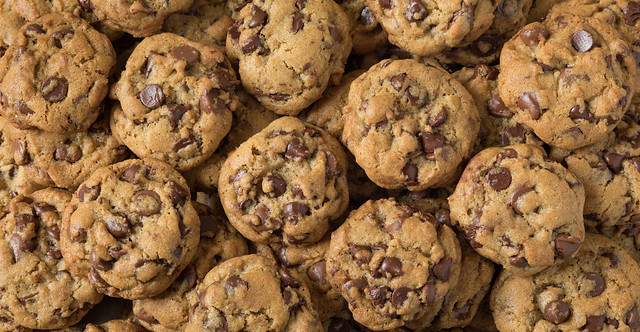 Many chocolate chip cookies