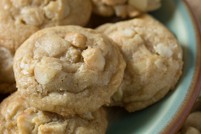 White chocolate macadamia nut cookies on plate