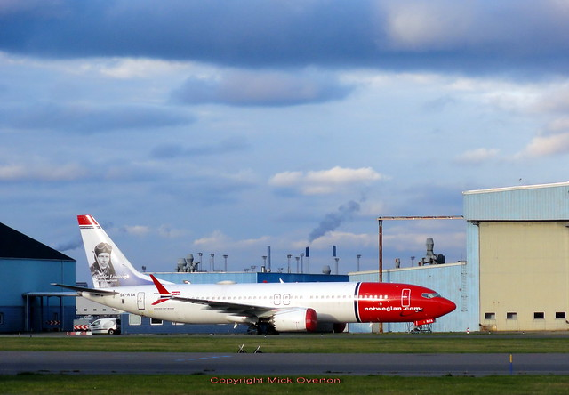 Norwegian Boeing 737 MAX 8 SE-RTA seen grounded since 12 March 2019 seen stored at Copenhagen Airport