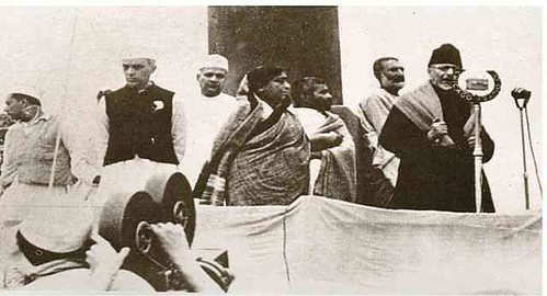 Azad with Jawaharlal Nehru, industrialist Jamnalal Bajaj, Sarojini Naidu and Khan Abdul Ghaffar Khan at the 1940 Ramgarh Session of the Indian National Congress in which Azad was elected president for the second time.