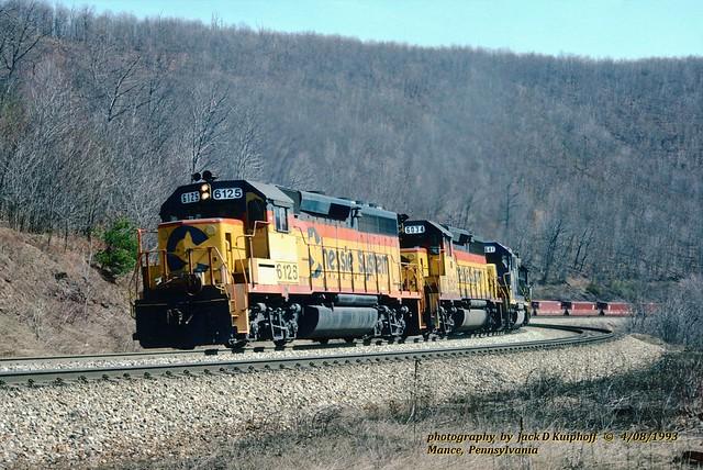 (SEE & HEAR)---CSX ches 6125 w, Mance, PA. 4-08-1993