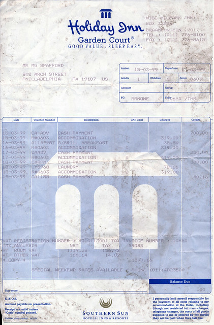 IMG_0002 MGS Memorabilia Letters and Writings: Holiday Inn Garden Court Milpark Braamfontien Johannesburg 15-19 March 1999 Room ZAR 319 Rands per night