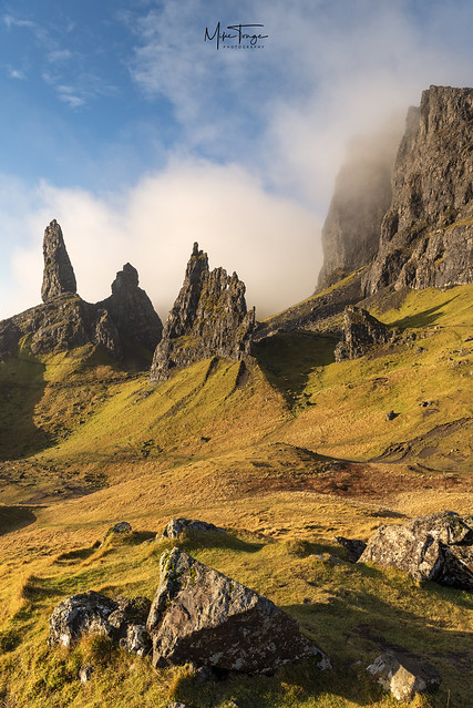 The sun on the Storr.