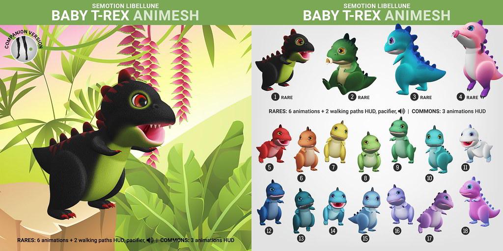 SEmotion Libellune Baby T-Rex Animesh