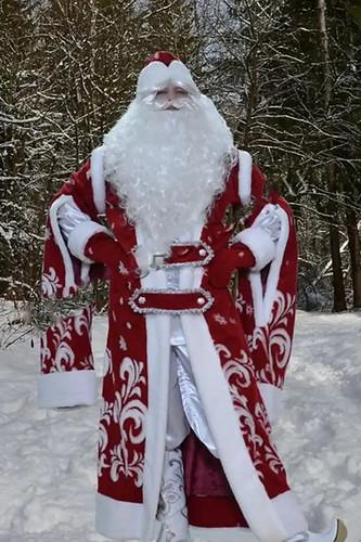 Мужской карнавальный костюм Дед Мороз бордовый