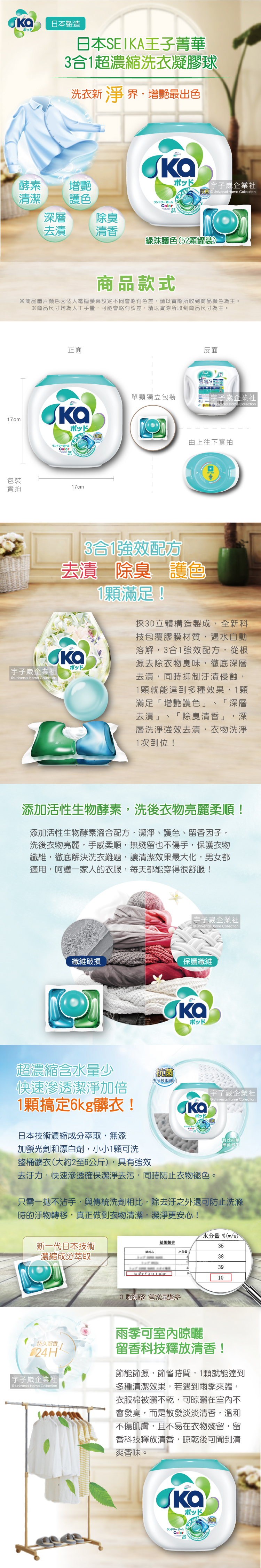 日本SEIKA王子菁華3合1超濃縮洗衣凝膠球-綠珠護色(52顆罐裝)介紹圖
