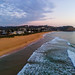 Soft haze and pastel coloured sunrise seascape
