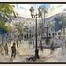 PLAÇA REIAL-BARCELONA-PINTURA-ART-PAISATGES-CIUTAT-CAPITAL-CATALUNYA-FONT-PALMERES-ARQUITECTURA-ARTISTA-PINTOR-ERNEST DESCALS