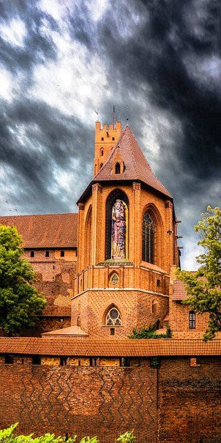 Malbork Castle: St. Ann's Chapel from the East Moat of Upper, Malbork, Poland. 332-Edit