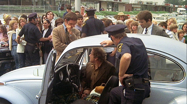 Hey vintage movie aficionados. What 1970s movie featured a 21 year old being killed and left in her Volkswagen Beetle? This film was shot in my hometown of Milford, Connecticut. The above scene shows the open-air CT Post Shopping Center as it looked then.