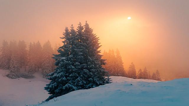 very cold sunrise