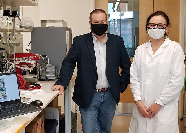 Brian Via and Beatriz Erramuspe in a lab