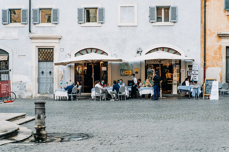 eating out in rome (facemasks worn)