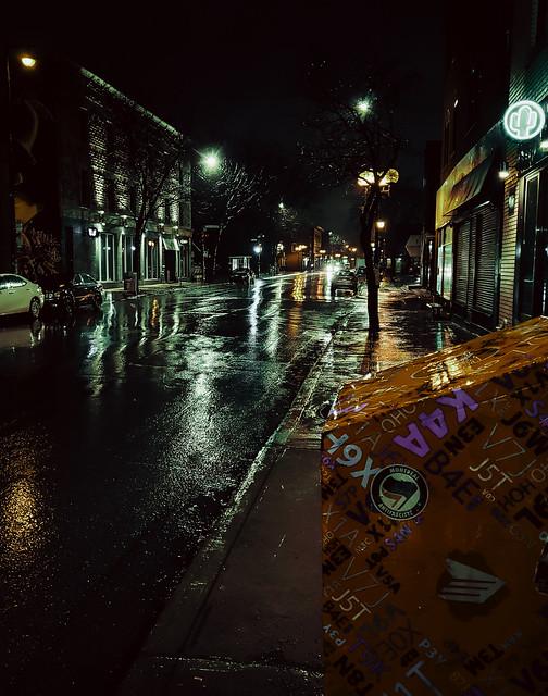 Mailbox on Rainy Street at Night
