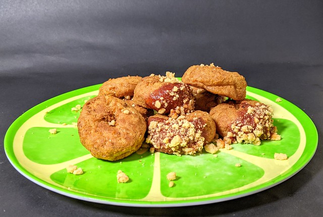 Chicken Doughnuts with a Smokey BBQ Dip and Waffle Crumbs