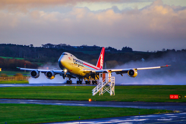 Cargolux 747 Taking Off From Prestwick