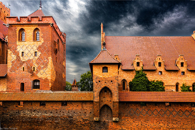 Malbork Castle: outside the East Moat of Upper (left) and Lower (right) castles, Malbork, Poland. 329-Edit