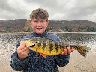 Photo of boy holding a yellow perch