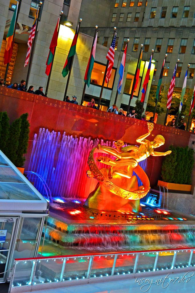 Prometheus Sculpture Statue Fountain The Rink Rockefeller Center Midtown Manhattan New York City NY P00729 DSC_1737