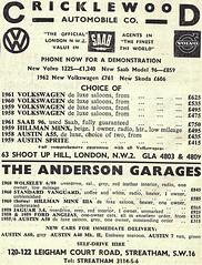 1962 ADVERT - CRICKLEWOOD AUTOMOBILE COMPANY - VOLKSWAGEN / SAAB MAIN DEALERS - LEIGHAM COURT ROAD STREATHAM - LONDON