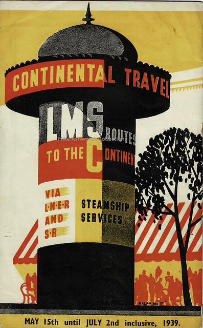 London Midland & Scottish Railway - Continental Travel, brochure cover May 1939 - artwork by Ralph Mott