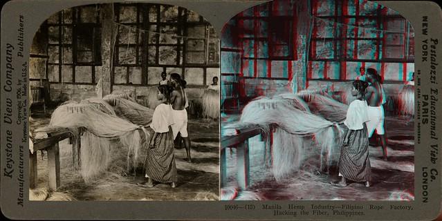 Manilla hemp industry, Philipino Rope Factory, Hackling the Fiber - 1906